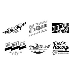Set of 6 vintage logos for moto club vector