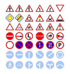 set of the main road of signs icons vector image