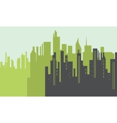 Silhouette of big city scenery vector