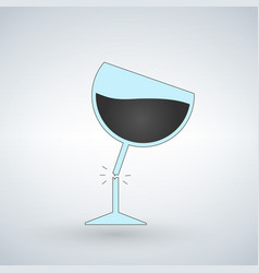 silhouette of broken wine glass icon for web vector image