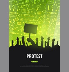 Silhouettes crowd of people with flags banners vector