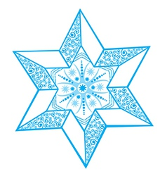 Stylized winter star with snowflake in the center vector