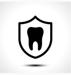 tooth with protective shield on white background vector image
