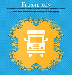 Transport truck icon Floral flat design on a blue vector image