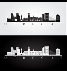 Utrecht skyline and landmarks silhouette vector