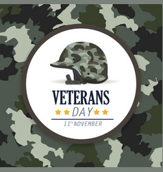 Veterans day celebration and military helmet vector