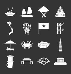 Vietnam travel icons set grey vector