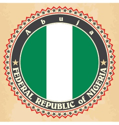 Vintage label cards of Nigeria flag vector