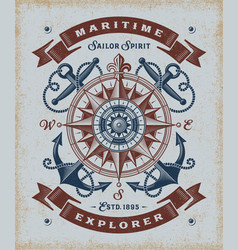 vintage maritime explorer typography vector image