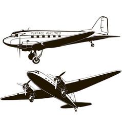 vintage passenger airplane art vector image