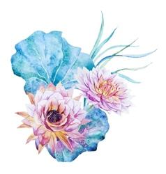 Watercolor lotus vector image
