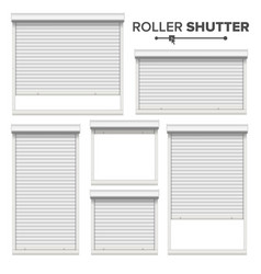White roller shutters window door garage vector