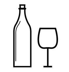wine bottle wineglass icon vector image
