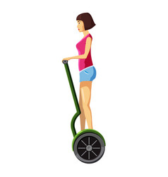 Woman riding electric scooter icon cartoon style vector