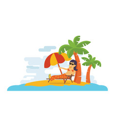 young woman relaxing on the beach in summer time vector image