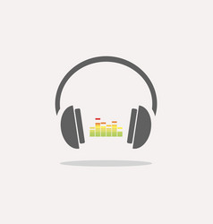 color headphones with music icon on beige vector image