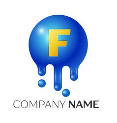 f letter splash logo blue dots and bubbles letter vector image vector image