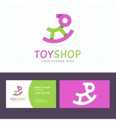 Logo and business card template for toy shop vector image vector image
