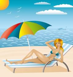 sexy woman in bikini on the beach 2 vector image vector image