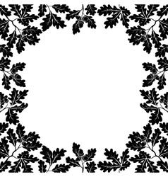 Border of oak branches black contours vector image vector image