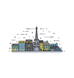 french icon linear style vector image vector image