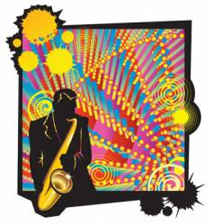 musical jazz party with saxophonist vector image
