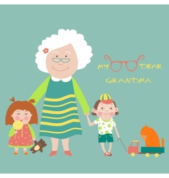 Grandmother with grandchildren vector image vector image