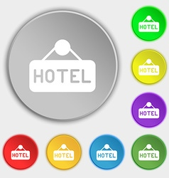 hotel icon sign Symbol on eight flat buttons vector image vector image