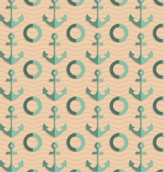 Retro fold sea green anchors vector image