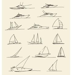 Set of hand drawn boats vector image vector image
