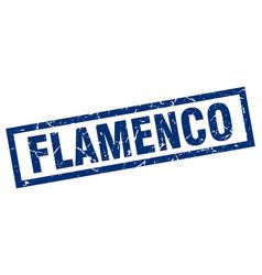 square grunge blue flamenco stamp vector image