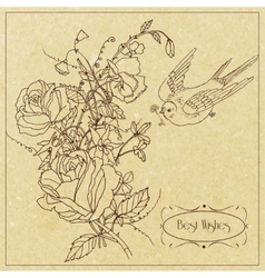 Bird and flowers vintage card vector