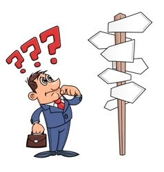 Businessman is confused by road sign 3 vector image