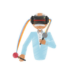 drawing man wearing vr goggles control vector image