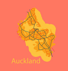 Map - auckland new zealand - flat - vector