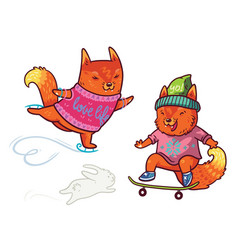 two cute baby fox skating fun characters in vector image vector image