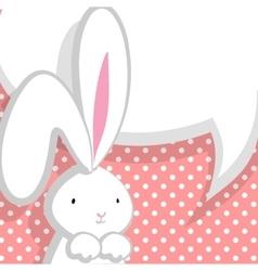 White cute rabbit pink comic bubble vector image vector image