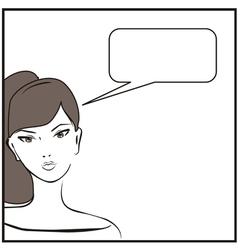 Young hand drawn woman or teenager girl talking vector