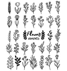 0105 hand drawn flowers doodle vector