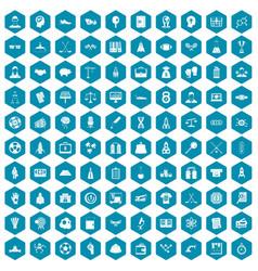100 success icons sapphirine violet vector image