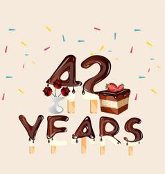 42 years happy birthday card vector image