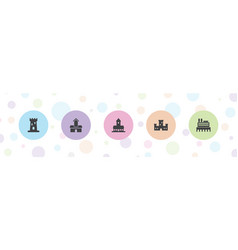 5 chateau icons vector