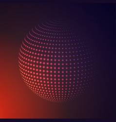 abstract 3d illuminated halftone sphere glowing vector image
