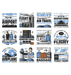 airport and aviation aircrew icons vector image