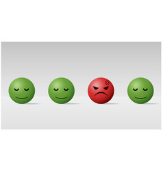 angry face ball among calm face balls background vector image