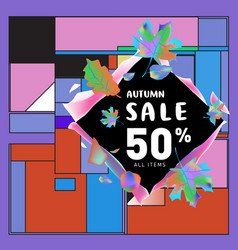 Autumn sale memphis style web banner fashion and vector