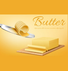 Banner with stick of butter and knife vector
