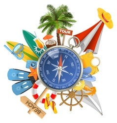Beach Concept with Compass vector image