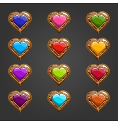 Big set with wooden heart vector