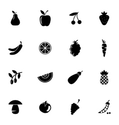 black fruits and vegetables icons set vector image